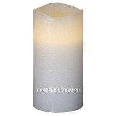 """Свеча, 15 см, включение/отключение нажатием на """"пламя"""", белый блестящий парафин"""