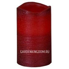 """Свеча, 12,5 см, включение/отключение нажатием на """"пламя"""", красный блестящий парафин"""