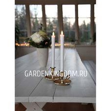 """Свечи 2 шт., 24 см, включение/отключение нажатием на """"пламя"""", белый воск"""