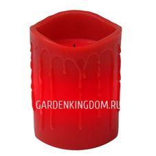 Свеча с эффектом оплавленной свечи, 10 см, таймер, красный воск