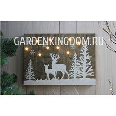 Светильник рождественский ОЛЕНИ В ЛЕСУ, 30 см, светлое дерево, белый