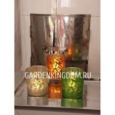 Свеча в стеклянном стакане с орнаментом, 8 см, янтарная