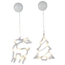 Светильник-подвес рождественский SPARKY в форме оленя и елочки, 19 см, белый