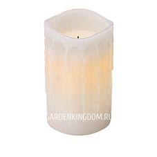 Свеча с эффектом оплавленной свечи, 12,5 см, таймер, белый воск