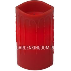 Свеча с эффектом оплавленной свечи, 12.5 см, таймер, красный воск