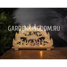 Светильник рождественский ПОДНОШЕНИЕ ДАРОВ, 29 см, светлое дерево