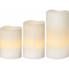 Комплект свечей с таймером и пультом,  3 шт., белый  воск