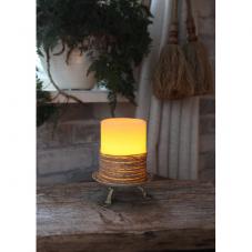 Свеча оплетенная шнуром, 10 см, таймер, бежевый
