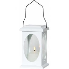 Светильник фонарь  с 3D свечой на батарейках FLAMME, высота 23 см, ширина 13,5 см, белый