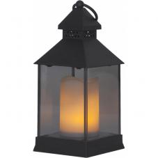 Светильник фонарь  с 3D свечой на батарейках FLAMME LANTERN, высота 24 см, ширина 10 см, черный