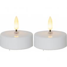 Свечи пластиковые  FLAMME c 3D пламенем, с таймером, высота 5,5 см, диаметр 5,8 см, 2 шт, белый
