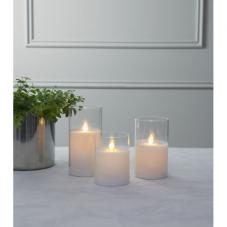 Свеча M-TWINKLE в прозрачном стакане, 15 см, белый