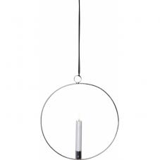 Свеча светодиодная  FLAMME RING с подвесным подсвечником, с 3D пламенем, 30 см, белый, серебро