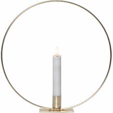 Свеча светодиодная  FLAMME RING с  подсвечником, с 3D пламенем, 28 см, белый, золото