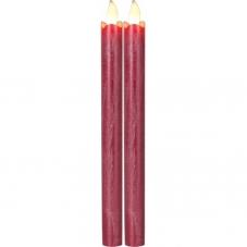 """Свечи 2 шт., 25 см, включение/отключение нажатием на """"пламя"""", красный  воск"""