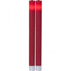 Свечи 2 шт., 24,5 см, таймер, красный воск