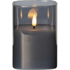 """Свеча M-TWINKLE в стакане с """"3D пламенем"""", высота 12,5 см, диаметр 9 см, дымчатый"""