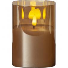 """Свеча M-TWINKLE в стакане с """"3D пламенем"""", высота 12,5 см, диаметр 9 см, бронзовый"""