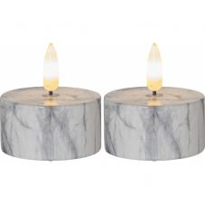 Свечи с 3D пламенем FLAMME, 2 шт, диаметр 5,5 см, высота 6 см, таймер, мраморный