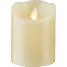 Свеча с эффектом мерцающего пламени, 10 см, таймер,  бежевая