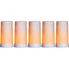 Комплект свечей DINER с зарядным устройством, 5 шт., высота 13 см, ширина 6,8 см, пластик, белый