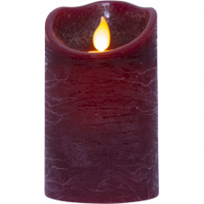 Свеча с эффектом мерцающего пламени, 12,5 см, таймер,  пурпурный