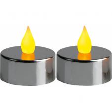 Свеча, 2 шт., 3 см, пластик, серебро