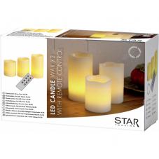 Комплект свечей с  пультом,  3 шт., таймер, желтый  воск