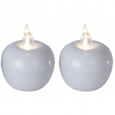 Свеча Яблоко, 5 см,  пластик, белый