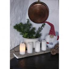 Комплект свечей с пультом, 10 см, 4 шт., белый воск