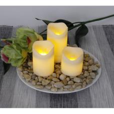 Комплект  свечей с эффектом оплавленной свечи,  3 шт., бежевый парафин