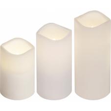 Комплект из трех свечей с пультом, высота 11 см, 15 см, 18 см, диаметр 7,5 см, пластик, цвет белый