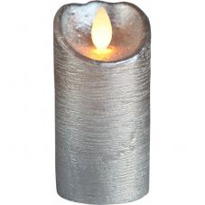 Свеча с эффектом мерцающего пламени, 10 см, таймер, серебро