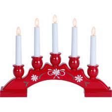 Горка рождественская SANNA-5, 5 свечей, 25 см, красная