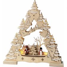 Светильник рождественский ДЕРЕВО СО СНЕГОМ, 28 см, на батарейках, бежевый