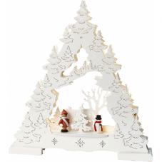 Светильник рождественский ДЕРЕВО СО СНЕГОМ, 28 см, на батарейках, белый