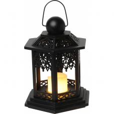 Светильник фонарь изящный со свечкой на батарейках, 20 см, черный