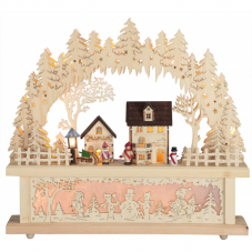 Светильник рождественский ДЕРЕВНЯ, 40 см, бежевый
