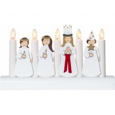 Светильник рождественский JULIA, высота 16 см, длина 28, белый, золото, красный