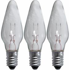 Лампочка 55 V (Вольта), 3 W (Ватта),  патрон Е10, прозрачный, гладкий плафон, 3 шт.