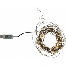 Гирлянда  DEW DROP с USB разъемом,  100 LED ламп, 5,6 м, черный провод, теплый белый