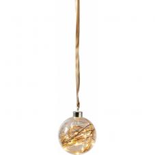 Светильник подвесной шар GLOW на батарейках, 11 см, теплый белый, коричневый