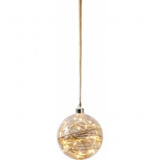 Светильник подвесной шар GLOW, 15 см, теплый белый, коричневый