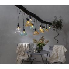 Гирлянда для улицы CIRCUS SHADE, 12 ламп, длина 4,95 м, черный провод, цветные плафоны, теплый белый