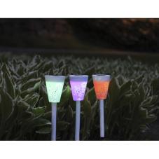 Садовые светильники SORIA Solar energy со сменой цветов, 3 штуки, диаметр 7,5 см, высота 25 см