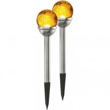 Садовый светильник ROMA Solar energy, 2 штуки, 26.5 см, янтарный