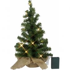 Ель искусственная в мешочке с гирляндой, 45 см, 10 LED ламп