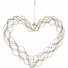 Светильник-подвес CURLY, Сердце, 30 см, золотой