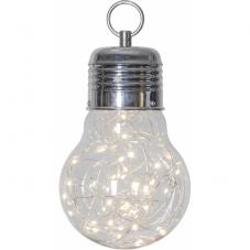 Светильник декоративный лампа с гирляндой BULBY светодиодный LED на батарейках, 24 см, теплый белый
