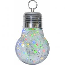Светильник декоративный лампа с гирляндой BULBY светодиодный LED на батарейках, 24 см, разноцветный